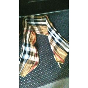 Burberry exploded check linen scarf authentic